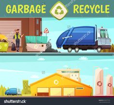 Garbage Recycling Green Eco Friendly Service Symbol And Processing Facilities 2 Cartoon Style Banners Isolated Vector Illustration - 492977167 : Shutterstock