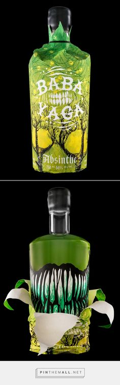 Arbutus Distillery's have launched their new product Baba Yaga absinthe, which has a unique and packaging design with various green colours displayed in the bottle. The sleeve of the bottle's design has tree roots sprouting out from the bottom and form chicken feet trees which has four skulls hidden in the negative shapes. The logo Baba Yaga is displayed with white bold text and toothy grin between each text. With the sleeve off the main bottle has room a wicked toothy grin.