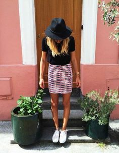 Hat: black sneakers pattern skirt black blouse watch tie dye hair blue white red midi mini high