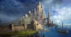 Coastal Castle in 2020 Fantasy castle Fantasy city Fantasy landscape