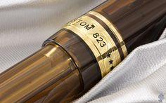 Pilot Custom 823 - closeup of the center band. Gorgeous translucent amber brown pen!
