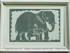 © Abigail Davidson Art -- Mom and Baby Elephant -- Original and handmade print, framed view