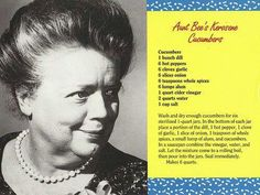 Pickled Tink If you're in a bad pickle, just remember things were worse with Aunt Bee's homemade pickles. (But you'll have better luck w/ this recipe.) from the postcard book AUNT BEE'S MAYBERRY COOKBOOK Retro Recipes, Old Recipes, Canning Recipes, Vintage Recipes, Cookbook Recipes, Relish Recipes, Sauce Recipes, Drink Recipes, Salads