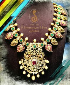 South Indian Jewellery - Heavy Mango mala  with polkis in pacchi setting with pota rubies and Emaralds