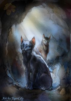 Dovewing and Bramblestar in tunnel (watercolor) by Flame-of-inspiration on DeviantArt