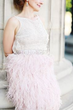 whimsical pink feather dress - photo by Olga Thomas of Chic Wedding Day http://ruffledblog.com/whimsical-elopement-inspiration-in-paris
