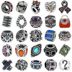 Birthstone Bracelet Charms European Antique Silver Crystal Rhinestone