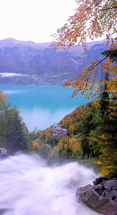 Giessbach Falls near Brienz, Canton of Bern, Switzerland.