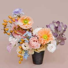 peach and lavender floral arrangement with poppies and orchids Wedding Flower Arrangements, Floral Arrangements, Floral Wedding, Wedding Flowers, Wedding Bouquets, Ivy Plants, Wedding Candy, Bunt, Planting Flowers