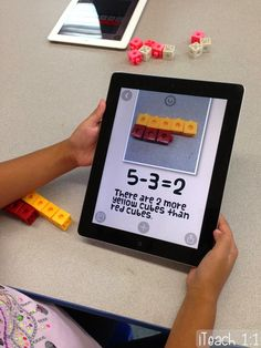 Using the free app Pic Collage to demonstrate comparison subtraction in a hands-on way