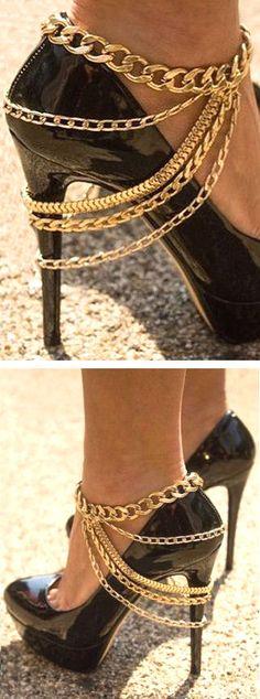 Rhinestone Gold Chain Anklet