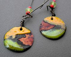 Hammered and distressed out of circulation bronze 1 cent coins with over fired torch fired enamel rustic earrings