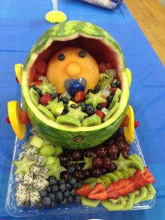 I made this fruit tray for my sisters baby shower! Baby Shower Fruit Tray, Grain Free, Watermelon, Sisters, Mary, Drink, Food, Beverage, Essen
