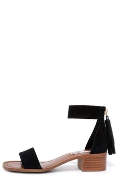 With a charming block heel, the Steve Madden Darcie Black Suede Leather Heeled Sandals excel at casual-chic! Genuine suede shapes a wide toe band and zippered heel cup with tasseled pull. Ankle strap has a bit of elastic for fit.