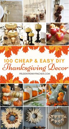100 Cheap and Easy DIY Thanksgiving Decorations 100 günstige und einfache DIY Thanksgiving-Dekorationen Erntedankfest Diy Home Decor Projects, Diy Projects To Try, Decor Ideas, Diy Ideas, Diy Halloween Party, Thanksgiving Parties, Holiday Decorations Thanksgiving, Diy Thanksgiving Centerpieces, Diy Thanksgiving Crafts