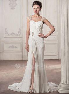 Trumpet/Mermaid Sweetheart Court Train Chiffon Wedding Dress With Ruffle Lace Beading Sequins Split Front (002059200) - JJsHouse