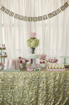 """Photo 1 of 17: Gold, Mint, and Pale Pink Bridal Shower / Bridal/Wedding Shower """"Gold, Mint, and Pale Pink Bridal Shower"""" 