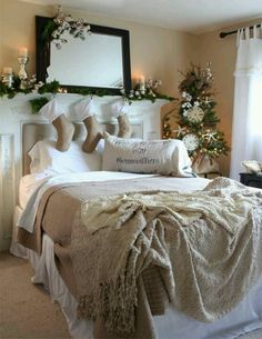 Shabby chic Christmas. - Looks cozy, but I would rather have the bed facing the fireplace and have a fire going. Not cover it up like this...