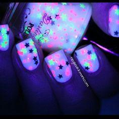 Clear nail polish, glow stick, stars? DIY?