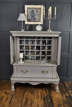 Paris Grey Shabby Chic French Drinks Cabinet (de The Treasure Trove Shabby Chic & Vintage Furniture)