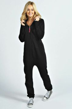 Black Hooded Fleece Adult Womens #Onesie #Womens Onesies - UK Onesies Australia Onesies