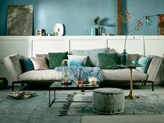 salon déco en bleu et vert