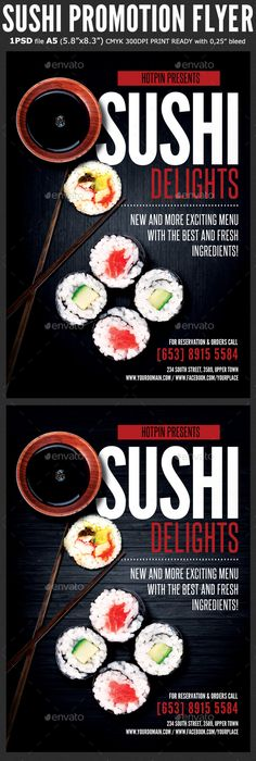Sushi Promotion #Flyer Template - #Restaurant Flyers Download here: https://graphicriver.net/item/sushi-promotion-flyer-template/19553439?ref=alena994