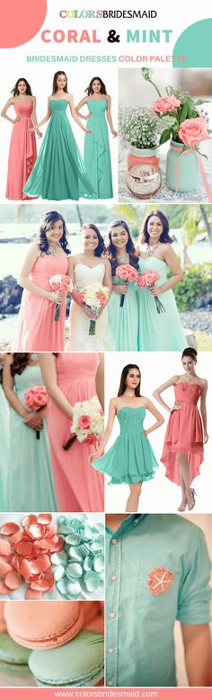Coral and mint bridesmaid dresses for weddings. 500+ styles, under $100 and custom sizes at Colorsbridesmaid.com. #colsbm #bridesmaids #weddings #weddingideas #coralwedding