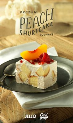 Prepare for a peachy presentation you'll want to repin. Frozen Peach Shortcake Squares will have people at your party asking which pastry shop prepared these chic squares. You can take all the credit with Peach Flavor JELL-O Gelatin, COOL WHIP Whipped Topping, fresh peaches and raspberries.