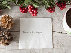 Treso Choose To Be Happy Napkins, 20 Count Counting, Cosy, Napkins, Place Card Holders, Tableware, Happy, Dinnerware, Towels, Dinner Napkins