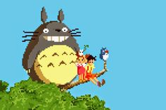 Wonderful 8-bit illustrations of scenes from Studio Ghibli movies - They'd make great needlepoint patterns!