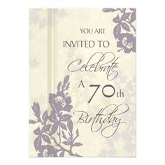 20 best 70th birthday party invitations images on pinterest purple floral 70th birthday party invitation cards filmwisefo