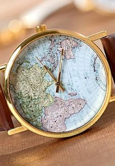 World Map Wrist watch womens wristwatches Unisex watch