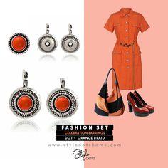 Celebration Earrings with Orange Braid Dot!