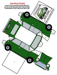 One sheet-Cut-Fold and Glue-papermodel-Morris-Mini-green Paper Model Car, Paper Car, Paper Plane, Paper Models, Paper Toys, 3d Paper Crafts, Paper Crafts For Kids, Mini Morris, Doll House Plans