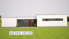 moderne bungalow energieneutraal grote ramen veel licht NOVA-HUIS.nl A50 Bungalows, House Plans, Nova, Garage Doors, Patio, Outdoor Decor, Home Decor, Modern, Haus