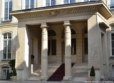 Hotel de Beauharnais in Paris, Egyptomania style portico. The hotel was bought by Eugène de Beauharnais, step-son of Napoléon I, in 1803 Revival Architecture, Architecture Design, La Malmaison, Empress Josephine, Modern Egypt, Grand Paris, Contemporary Classic, Palace, Scenery