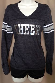 Grey Cheer Varsity Long-sleeve Shirt by Empire Cheer, $25.00 #cheer #cheergear #cheerleading #sparkle