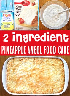 Pineapple Angel Food Cake Recipe - Simple Dessert you'll LOVE! With just 2 ingredients, this will be one of the EASIEST treats you'll ever make! Go grab the recipe and give it a try! Pineapple Angel Food, Pineapple Dessert Recipes, Fruit Recipes, Desert Recipes, Pumpkin Recipes, Diabetic Recipes, Cooking Recipes, 2 Ingredient Desserts, Baking For Beginners