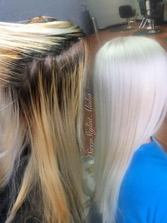 Alisha Jared ( from Siren Salon, Vancouver, WA, had an exciting opportunity. This client called into our salon looking for someone to correct her 10 years of home color, she says. White Blonde Hair, Yellow Hair, Blonde Color, Hair Color, Icy Blonde, Platinum Blonde Hair, Silver Hair, Hair Dos, Pretty Hairstyles