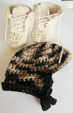 Military Camo Helmet Combat Boots Photo Prop 0 3 Months Crochet Baby Hat Booties | eBay