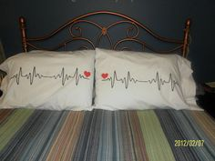 Heart Beats Handprinted on Pillow Cases in Brilliant White - Can be Persoanlized