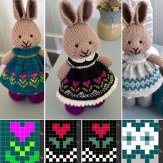 Knitting patterns baby dress little cotton rabbits 39 Ideas Knitting Charts, Baby Knitting Patterns, Baby Patterns, Crochet Patterns, Knitted Bunnies, Knitted Animals, Knitted Dolls, Crochet Christmas Hats, Little Cotton Rabbits