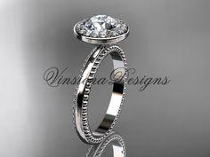 """platinum engagement ring """"Forever One"""" Moissanite VD10078"""