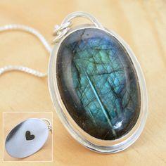 Hidden Heart Labradorite Pendant Handmade Sterling by metalsmitten