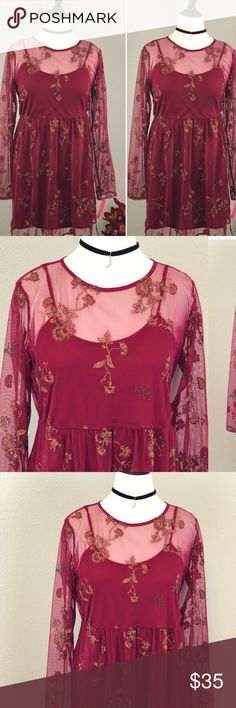 Beautiful NWT see through dress NWT Red see through flower embroidered dress! Size is XL . A must have!!! Dresses
