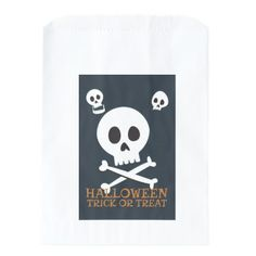 Halloween Trick or Treat Cute Skulls. Favor Bag - craft supplies diy custom design supply special