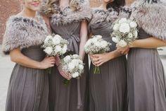 Elegant pewter bridesmaid dresses and coordinating fur shawls  #Winter #wedding