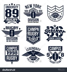 College rugby team emblems in retro vintage style. Graphic design for t-shirt.
