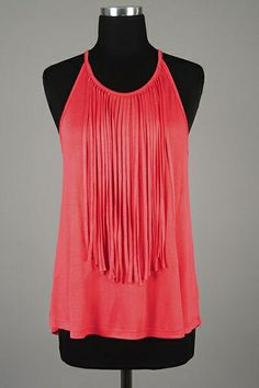 *** New Style *** Lightweight Loose Fit Knit Tank with Girly Fringed Trim Round Neckline.